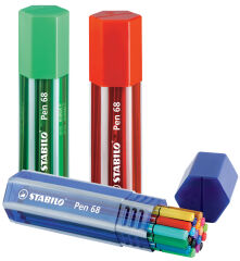 STABILO Feutre Pen 68, Big Pen Box de 20, couleurs assorties