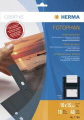 HERMA Pochettes transparentes A4 Fotophan, pour photos 10x15