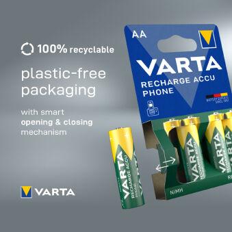 VARTA Pile pour téléphones 'RECHARGE ACCU PHONE', Mignon