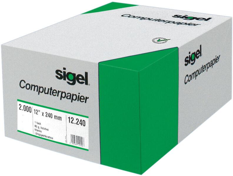 Tabellierpapier 4x240mm weiàŸ mit Là¤ngsperforation VE=3000 Blatt Sigel 04241