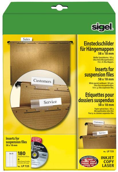 sigel etiquettes pc pour dossiers suspendus 58 x 18 mm achat vente sigel 8200802. Black Bedroom Furniture Sets. Home Design Ideas