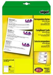 Sigel cartes de correspondance PC, format DL, 185g/m2, blanc