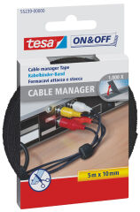 tesa On & Off Serre-câbles Cable Manager Universal, noir