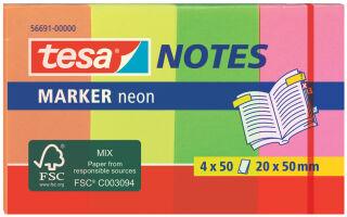 tesa Index repositionnable Marker, couleurs néons,50 x 20 mm