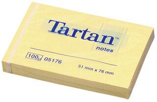 Tartan bloc-notes repositionnable, 102 x 76 mm, jaune