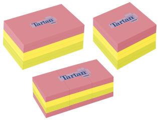 Tartan bloc-notes repositionnable, 76 x 76 mm, assorti fluo