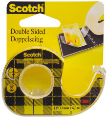 Scotch Ruban adhésif double face 665, 12 mm x 6,3 m