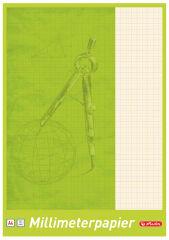 herlitz Bloc de papier millimétré A4, 80 g/m2, 25 feuilles