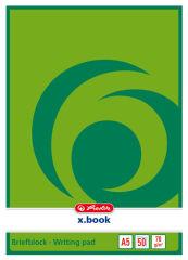 herlitz Bloc de papier à lettre x.book, A5, non troué, uni,