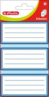 herlitz Etiquettes pour livres, blanc avec cadre bleu