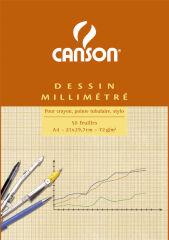 CANSON Bloc de papier millimétré, A4, 90g, bleu
