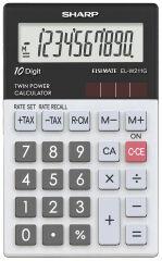 SHARP Calculatrice de poche modèle EL-W211G GY, alimentation