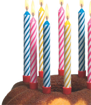SUSY CARD Bougies d'anniversaire, en cire, rayures blanches