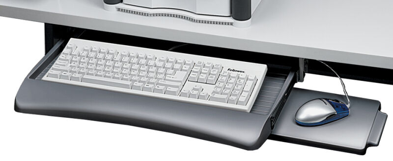 Fellowes tiroir pour clavier avec tablette souris - Bureau avec tablette pour clavier ...