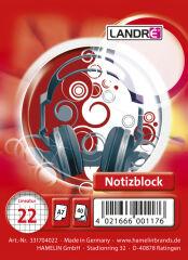 LANDRÉ bloc-notes à spirale, format A7, 40 feuilles,