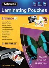 100 pochettes à plastifier Fellowes A4 mates, 80 microns