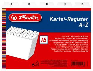 herlitz Index alphabétique, PP, A5 à l'italienne, blanc,