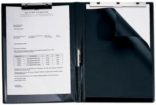 HETZEL Chemise porte-bloc, format A4, noir, fine reliure