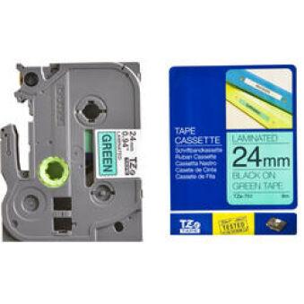 Brother TZ-751 Cassette à ruban noir/vert - 24mm x 8m