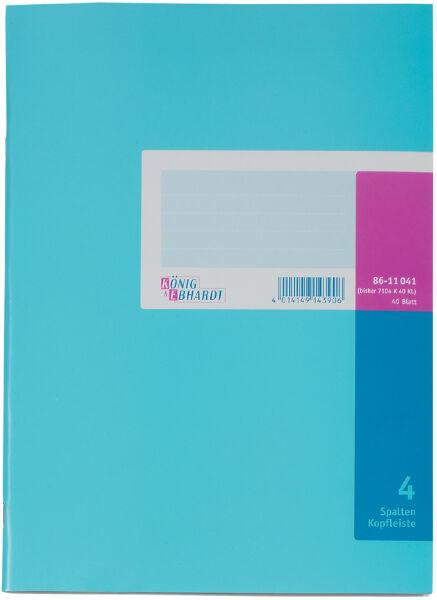 cahier à colonne format A4, 4 colonnes, 40 pages, avec barre de titre, carnet en carton (8611041...