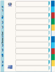ELBA Intercalaires en plastique, uni, couleur, A4,12 touches