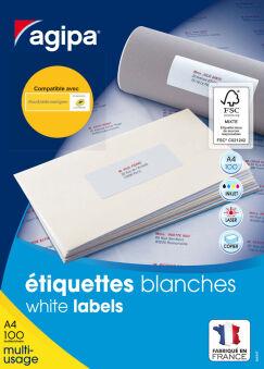 agipa Etiquette universelle, 63,5 x 38,1 mm, blanc