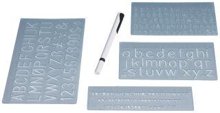 WEDO Kit normographe, hauteur de caractères: 5, 10 et 20 mm