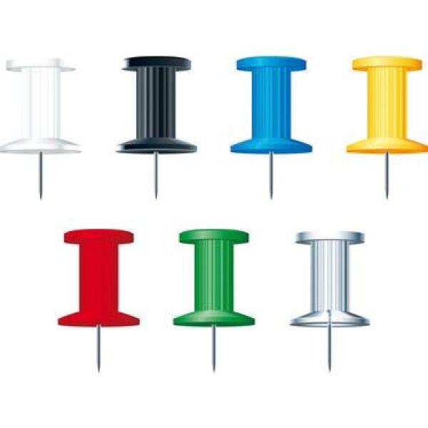 punaises pour tableau li ge couleurs assorties bo te de 200. Black Bedroom Furniture Sets. Home Design Ideas