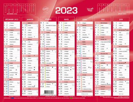 Achat Calendrier 2021 QUO VADIS Calendrier de banque rouge 2021, 270 x 210 mm   Achat