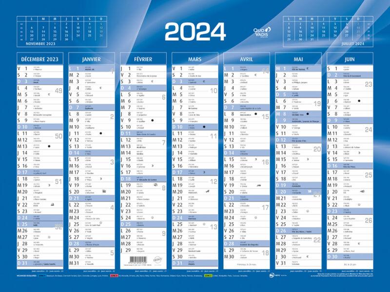 Quo vadis calendrier de banque bleu 2015 430 x 335 mm for Calendrier mural 2015