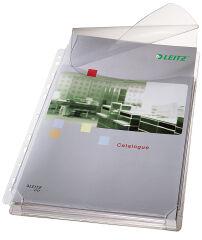 LEITZ pochette perforée Maxi avec rabat, A4, PVC, grainée