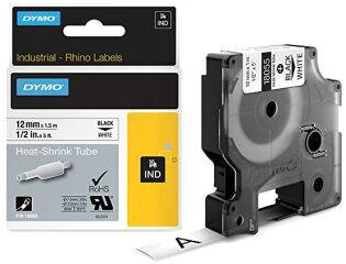 DYMO RHINO Gaine thermorétractable noir/blanc, 9 mm x 1,5 m