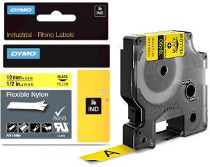 DYMO RHINO Etiquette en nylon noir/jaune, 12 mm x 3,5 m
