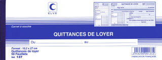 ELVE Carnet à souche 'Quittances de loyer', 100 x 270 mm