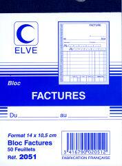 ELVE Bloc 'factures', 140 x 105 mm, 50 feuillets