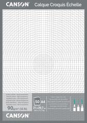 Papier calque pour dessin technique (x50), A4, 90/95 g/m2 - CANSON
