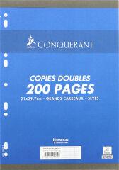 Feuilles doubles A4 - 200 pages grands carreaux