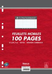 Feuilles simples A4 - 200 pages grands carreaux - Conquérant Sept