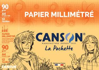 CANSON Papier millimétré, A4, 90 g/m2, couleur: bistre