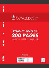 Feuilles simples - A4 - 200 pages petits carreaux