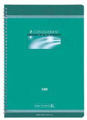 Cahier Vert spirales - 24x32 cm - Grands Carreaux - 100 pages