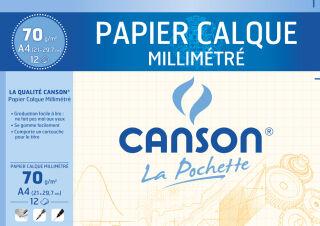 CANSON Papier calque millimétré, A4, 70/75 g/m2