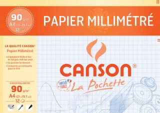 CANSON Papier millimétré, A4, 90 g/m2, couleur: bleu