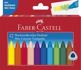 FABER-CASTELL Craie à la cire, triangulaire, étui de 12