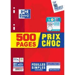 Feuilles simples, grands carreaux, 500 pages - Oxford