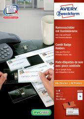AVERY Zweckform Badge avec combi-pince, 90 x 54 mm