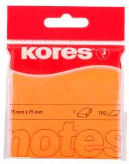 Kores Note adhésive 'NEON', 75 x 75 mm, uni, orange fluo