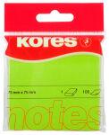 Kores Notes adhésives 'NEON', 75 x 75 mm, uni, vert néon