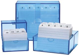 Boîtes à fiches, Format A6 à l'italienne, 159 x 83 x 137, bleu transparent