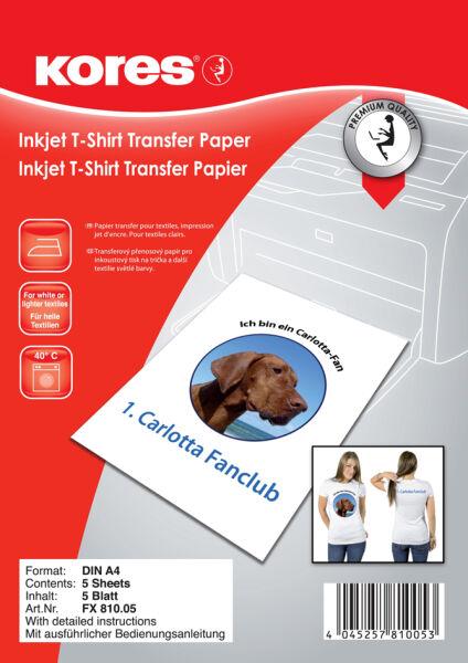 kores papier transfert pour t shirt pour textiles clairs achat vente kores 5620420. Black Bedroom Furniture Sets. Home Design Ideas